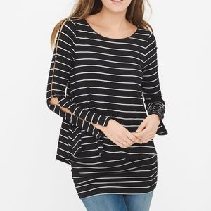 WHBM Double Layered Striped B&W Tunic Top Size S